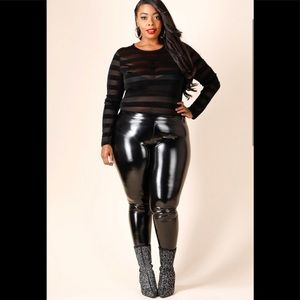 0170748be3f0f Pants - Plus Size Faux leather leggings with size zipper